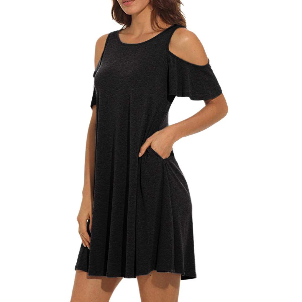 Libermall Women's Dresses Solid Cold Shoulder with Pockets Beach Sundress Evening Party Swing Dress Black