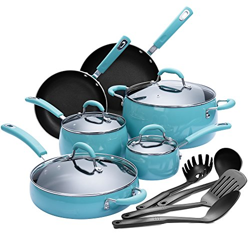Finnhomy Hard Porcelain Enamel Aluminum Cookware Set, Ceramic Cookware Set, New Technology Double Nonstick Coating PTFE PFOA Free Kitchen Pots and Pan Set, 14-Piece, Agave Blue (Cookware Stainless Restaurant)