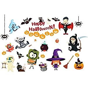 happy halloween diy wall decal wall stickers bedroom home window sticker mural decorations for baby kids room nursery halloween party by raleighsee - Happy Halloween Stickers