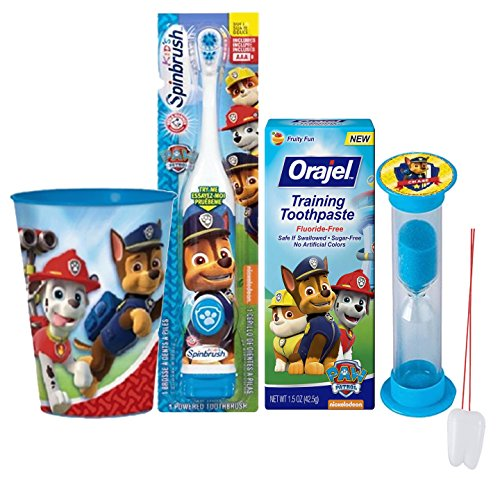 """Paw Patrol """"Chase"""" Inspired 4pc Oral Hygiene Set! Includes Spin Toothbrush, Toothpaste, Brushing Timer & Mouthwash Rinse Cup/Toothbrush Holder! Plus Bonus """"Remember To Brush""""Visual Aid!"""
