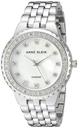 Anne Klein Women's AK/2761MPSV Diamond-Accented Silver-Tone Bracelet Watch