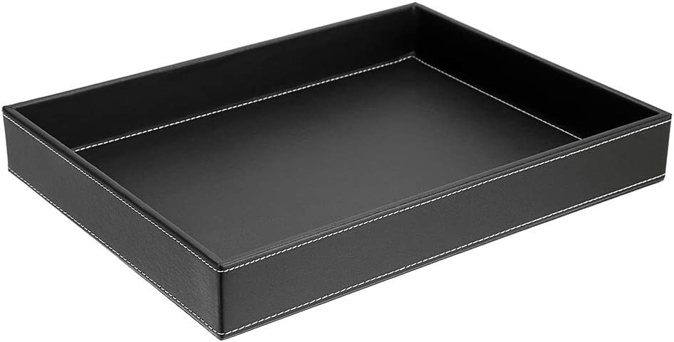 BTSKY PU Leather Table Organizer, Nightstand Organizer for Men and Women, Office Desk Drawer Organizer Tray for Wallet Change Remotes Entryway EDC Accessories Jewelry Accessories etc(Black)