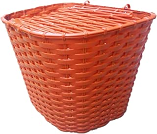 LIOOBO Outdoor Bicycle Basket Handlebar Wicker Bike Basket Riding Supplies Equipment Bicycle Plastic Imitated Vine Retro Car Basket Anti-Theft Front Basket