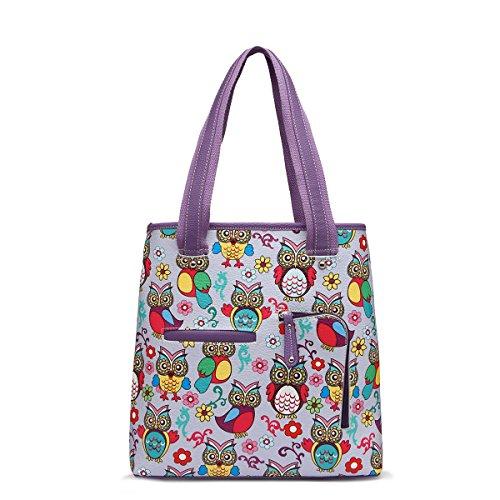 Satchel Tote Purple Colorful Top All Handle Owl Bag Bag Over Print x4qwYRa