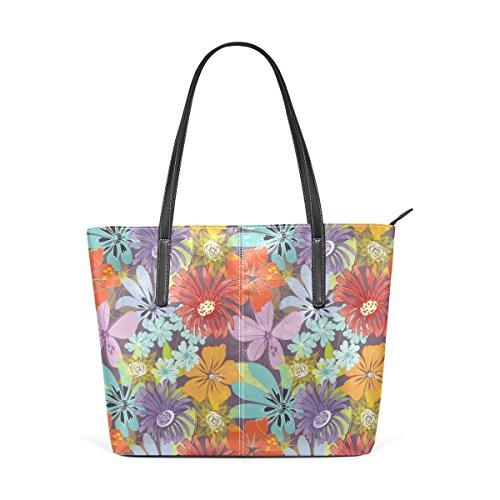 COOSUN Aquarell Blumen Floral PU Leder Schultertasche Handtasche und Handtaschen Tasche für Frauen