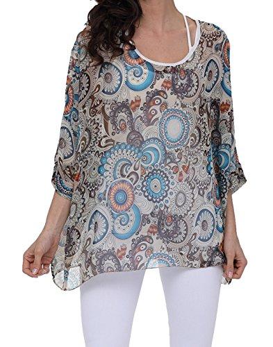 Rokou Women Chiffon Blouse Floral Batwing Sleeve Beach Loose Tunic Shirt Tops (NewC13) (Floral Chiffon)