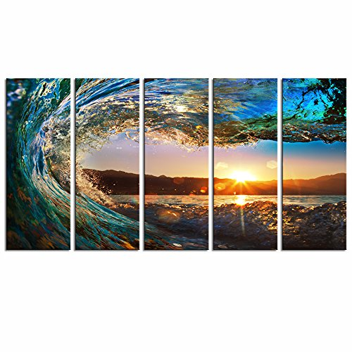 Sea Charm - Amazing Ocean Wave Picture Print on Canvas Painting Sunset on Sea Landscape Wall Art for Living Room Decoration,Framed and Ready to Hang,Each Piece 12