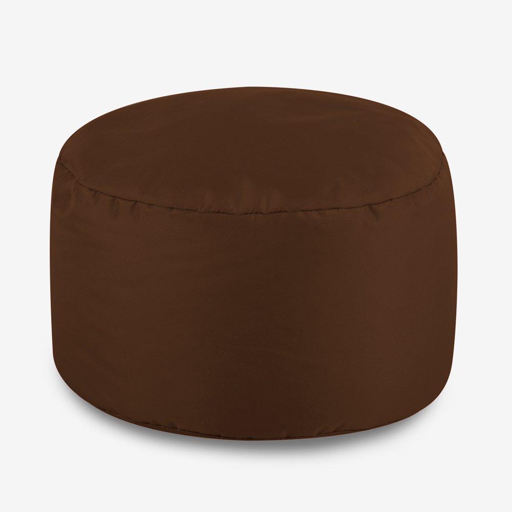 Bean Bag Bazaar Round Indoor Outdoor Footstool - Black, 38cm x 20cm - Water Resistant Pouffe