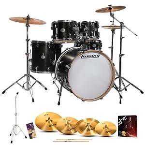 Ludwig LCF52G-026 Element Drive 5-Pc Drum Set - Black Gold with Hardware, Pedal, Zildjian ZHT Cymbals & Drum Key