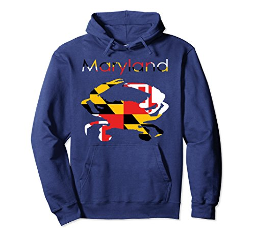 Blue Adult Md Apparel (Unisex MD Maryland State Flag Shirt Blue Crab Hoodie XL: Navy)
