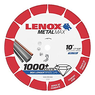 "Lenox Tools 1972926 METALMAX Diamond Edge Cutoff Wheel, 10"" x 5/8"""