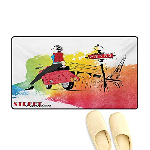Door Mats,Woman on a Pink Motorcycle Trend Vogue Fashion in Paris Eiffel Tower Art Print,Customize Bath Mat with Non Slip Backing,Red and Orange,20