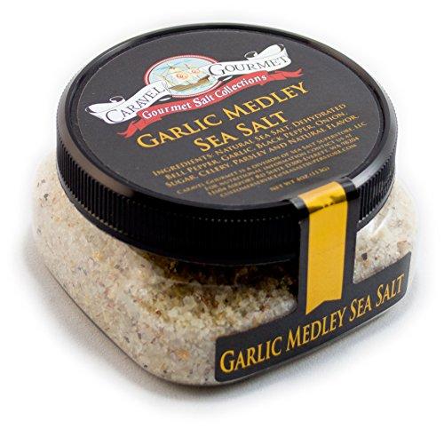 Exotic Medley (Garlic Medley Fine Sea Salt - Pure Sea Salt Infused W/ Garlic & Blended W/ Bell Pepper Onion Celery Black Pepper & Parsley Gluten Free No-MSG Non GMO Cooking & Finishing Salt - 4 Ounces Stackable Jar)