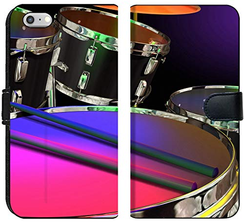 (Apple iPhone 6 or 6S Flip Fabric Wallet Case Image of Music Drum Instrument Play Percussion Musical Beat Rhythm Band Sound Rock Musician Metal Snare Chrome )