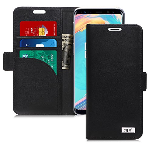 FYY Case for Galaxy S9 Plus, Genuine Leather Handmade Wallet Case with [Prevent Card Information Leaking Technique] and [Kickstand Feature] for Samsung Galaxy S9 Plus Black by FYY