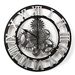 Adeco Clock 3D Retro Rustic Vintage Wooden Luxury Gear Noiseless Wall Clock, Wooden Decoration (22 Inch, Roman-Silver)