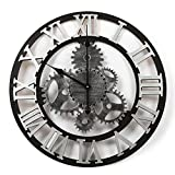 wall clock with gears - Adeco Clock 3D Retro Rustic Vintage Wooden Luxury Gear Noiseless Wall Clock, Wooden Decoration (22 Inch, Roman-Silver)