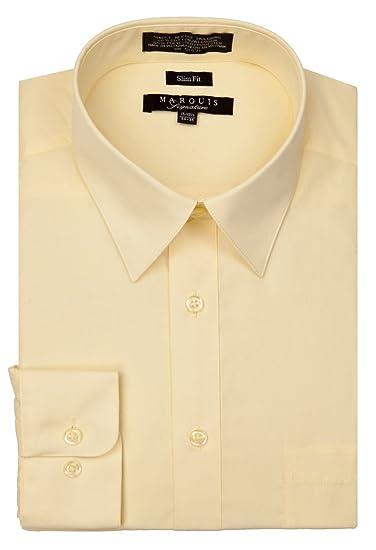 5f08113f752c Marquis Signature Men's Basic Convertible Cuff Slim Fit Dress Shirts Banana  (14.5 32-33
