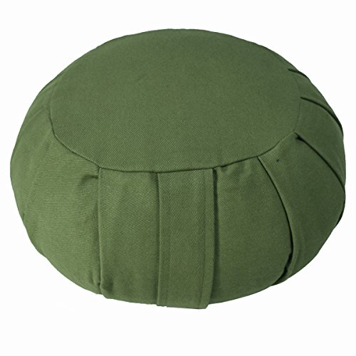 YogaAccessories Round Cotton Zafu Meditation Cushion - Sage