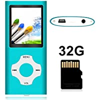 Tomameri Portable MP4 / MP3 Player with 32 GB Micro SD Card, Music Player with Rhombic Button, E-Book Reader, Mini USB Port, Photo Viewer, Voice Recorder,Including Earphones and USB Charger-32GB,Blue