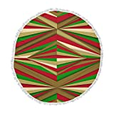 KESS InHouse Danny Ivan Christmas Pattern Red Green Round Beach Towel Blanket
