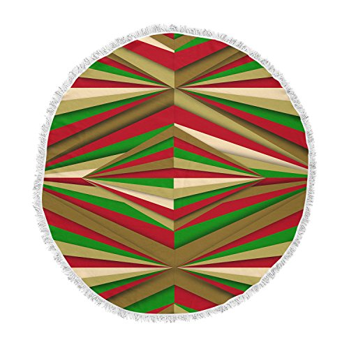 KESS InHouse Danny Ivan Christmas Pattern Red Green Round Beach Towel Blanket by Kess InHouse