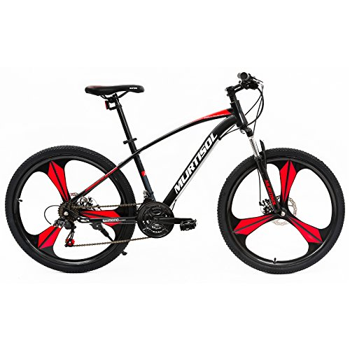 Disc Mag Brake - Murtisol Mountain Bikes with Aluminum Mag Wheels,21 Speeds Hybrid Bikes with Dual Disk Brake,Red&Black