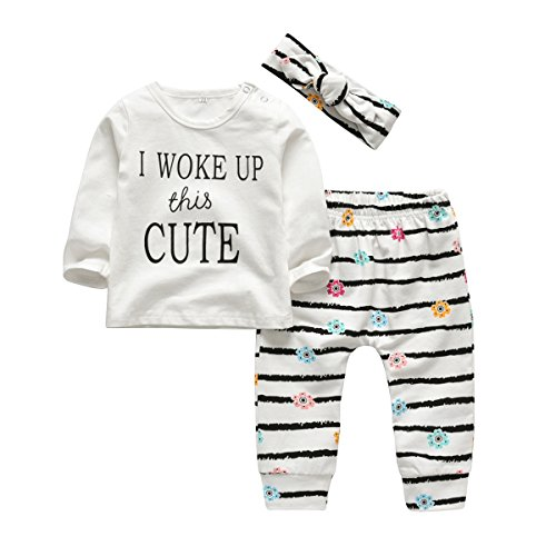 - 3Pcs Baby Girl Outfits Set I Woke Up This Cute Long Sleeve T-Shirt Tops Flowers Pants with Headband (0-6 Months)