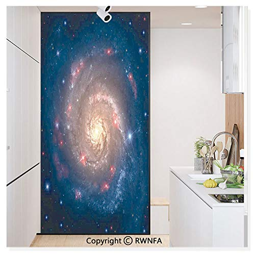 - RWN Film Removable Static Decorative Privacy Window Films Mystical Spiral Galaxy Expanse Beyond Milky Way Planet Astral Space Art for Glass (17.7In. by 78.7In),Petrol Blue Peach