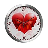 Modern Wall Clock Heart with Red Bow