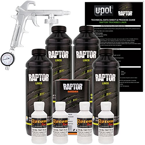 U-POL Raptor Bright White Urethane Spray-On Truck Bed Liner Kit w/ FREE Custom Shop Spray Gun with Regulator, 4 Liters - Best Truck Bed Liner