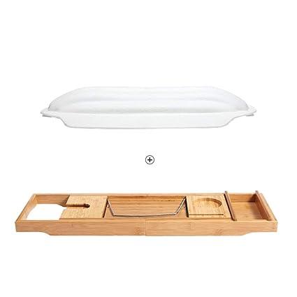 FEI Estantería Carrito de bañera de Lujo - Bandeja de baño de Madera de bambú Extensible, ...