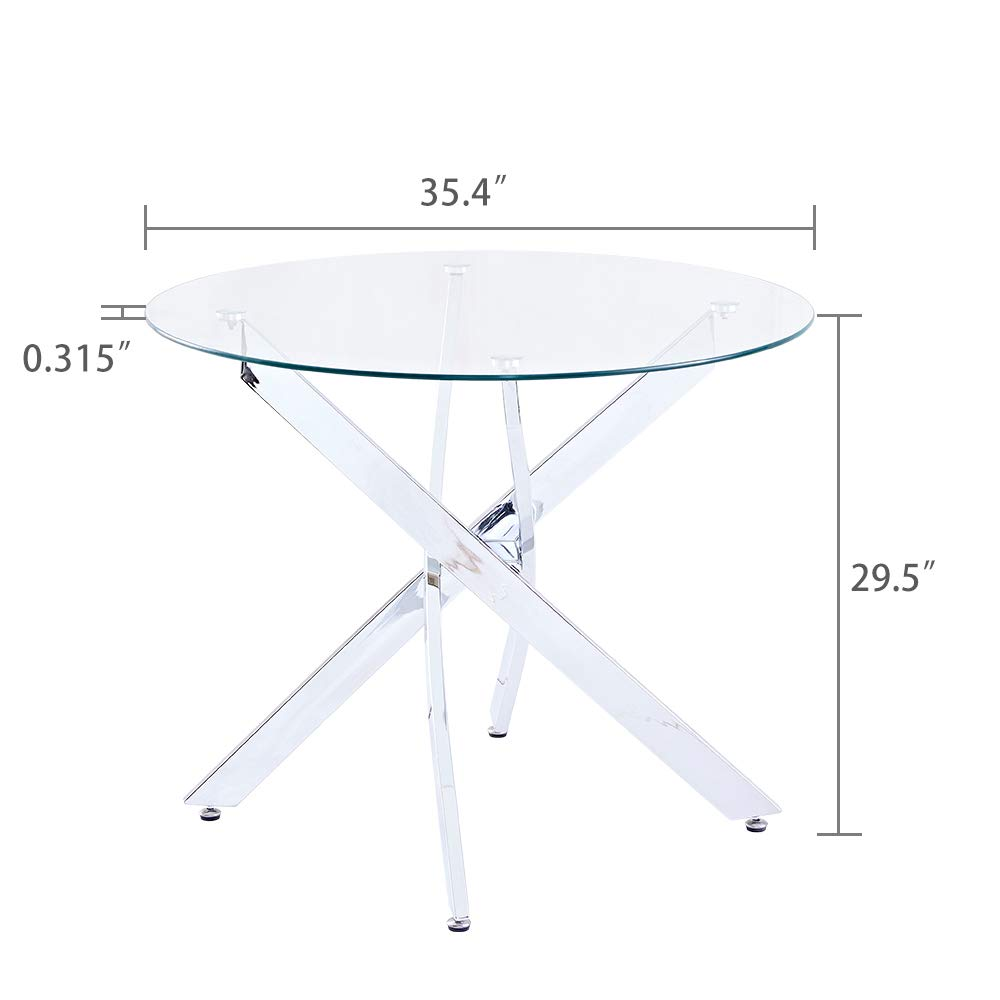 SICOTAS 35.4'' Round Dining Table with Clear Safety Tempered Glass Top Stable Chrome Cross Legs,Small Kitchen Table for 4 Person (Table Only) by SICOTAS (Image #4)
