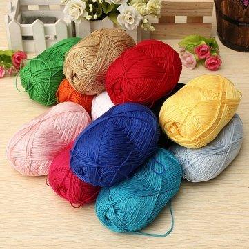 Bheema 12Color Fingering Knitting Yarn Smooth Woolen Cotton Bamboo Yarn - Khaki