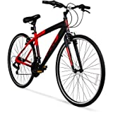 Hyper Bicycle WMA-137003 700c SpinFit Mens Hybrid Bike, Red / Gearing (# of speeds): 21-speed Shimano Shifters Derailleurs: Shimano rear derailleur