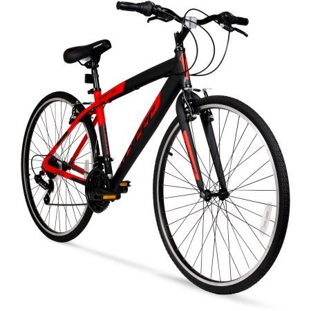 Hyper Bicycle WMA-137003 700c SpinFit Men's Hybrid Bike, Red / Gearing (# of speeds): 21-speed Shimano Shifters Derailleurs: Shimano rear derailleur
