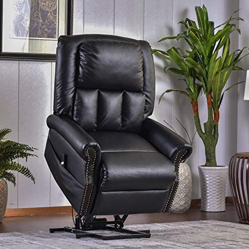 P PURLOVE Power Lift Recliner Chairs, PU Leather Lift Chair, Soft and Warm Electric Recliner Chairs, Living Room Reclining Sofa Chair with Built-in Remote Control for Gentle Motor Black