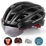 Basecamp Bike Helmet, Light Weight Bicycle Helmet CPSC Certified Specialized Cycling Helmet with Removable Visor& Safety Light& Adjustable Liner for Men&Women