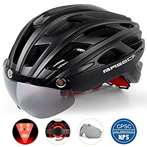 Basecamp Bike Helmet, Cycling Helmet CPSC Safety Standard Bicycle Helmet/Climbing Helmet/BMX Helmet with Magnetic Visor Shield&LED Safety Light for Adult Men&Women Mountain&Road