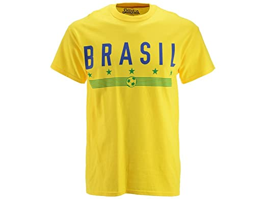 Stitches Athletic Gear Mens Brasil Graphic T Shirt Yellow M Amazon