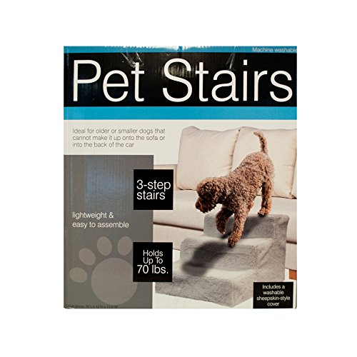Kole Imports Pet Stairs with Sheepskin-Style Cover
