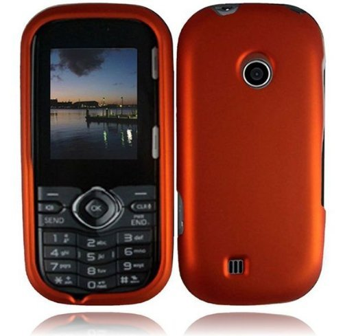 For LG Cosmos 3 VN251S Cosmos 2 VN251 Rubberized Hard Cover Case Orange Accessory