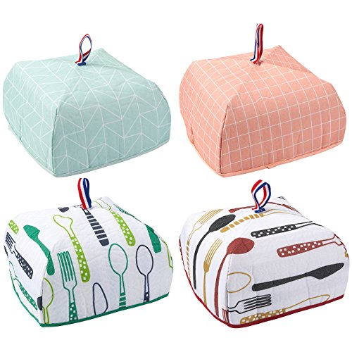 4-Pack Food Cover - Portable Thermal Pop-Up Food Cover, Small Collapsible Food Tent, 4 Designs, 9.5 x 5.5 x 9.5 Inches