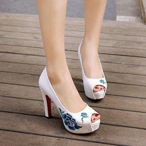Zapatillas De Tacón Alto Carolbar Para Mujer, Con Plataforma Peep-toe Bordadas, Blanco