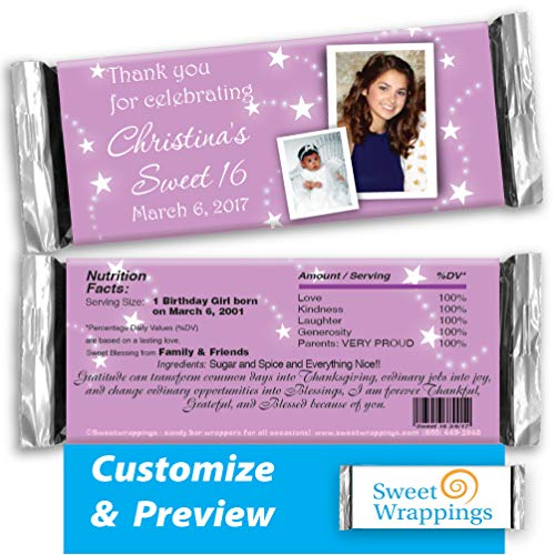 - Personalized Hershey's Candy Bar Wrappers | Birthday, Gift, Sweet Sixteen | Sweet Stars | Party Favor, Personalized, Custom | (36 Wrapper Kit)