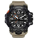 Men's Military Watch, JORFOX Men's Military Digital Tactical Watch, Automatic Dual Display Waterproof Watches, Large Face Analog Quartz LED Alarm Stopwatch