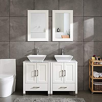 "48"" Double Sink Bathroom Vanity Cabinet Glass/Marble Top White Wood w/Mirror Faucet and Drain (Solid Wood + Marble Top)"