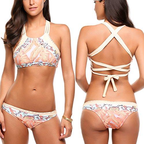 Avidlove Women's Sexy Criss Cross Bandage Bikini Set Floral Print - Back Bikini Cross