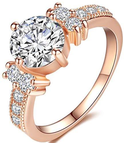 - TEMEGO Rose Gold Vintage Five Stone Crystal Cubic Zirconia Halo Engagement Ring Wedding Band Milgrain