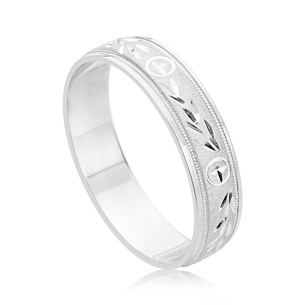 5.5mm 14K White Gold Cross Engraved Diamond Cut Comfort Fit Wedding Ring Band (Size 5 to 14), 11